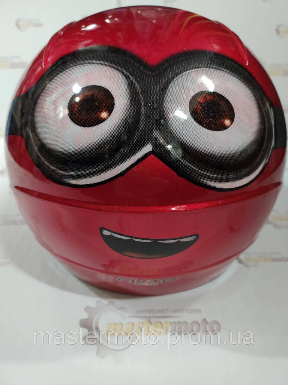 """Шлем детский открытый красный Миньон, """"MotoTech""""."""
