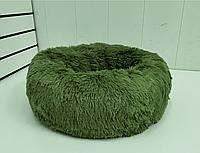 Пушистый лежак-матрас для собак и кошек спальные места для домашних животных диаметр 40 см цвет оливка