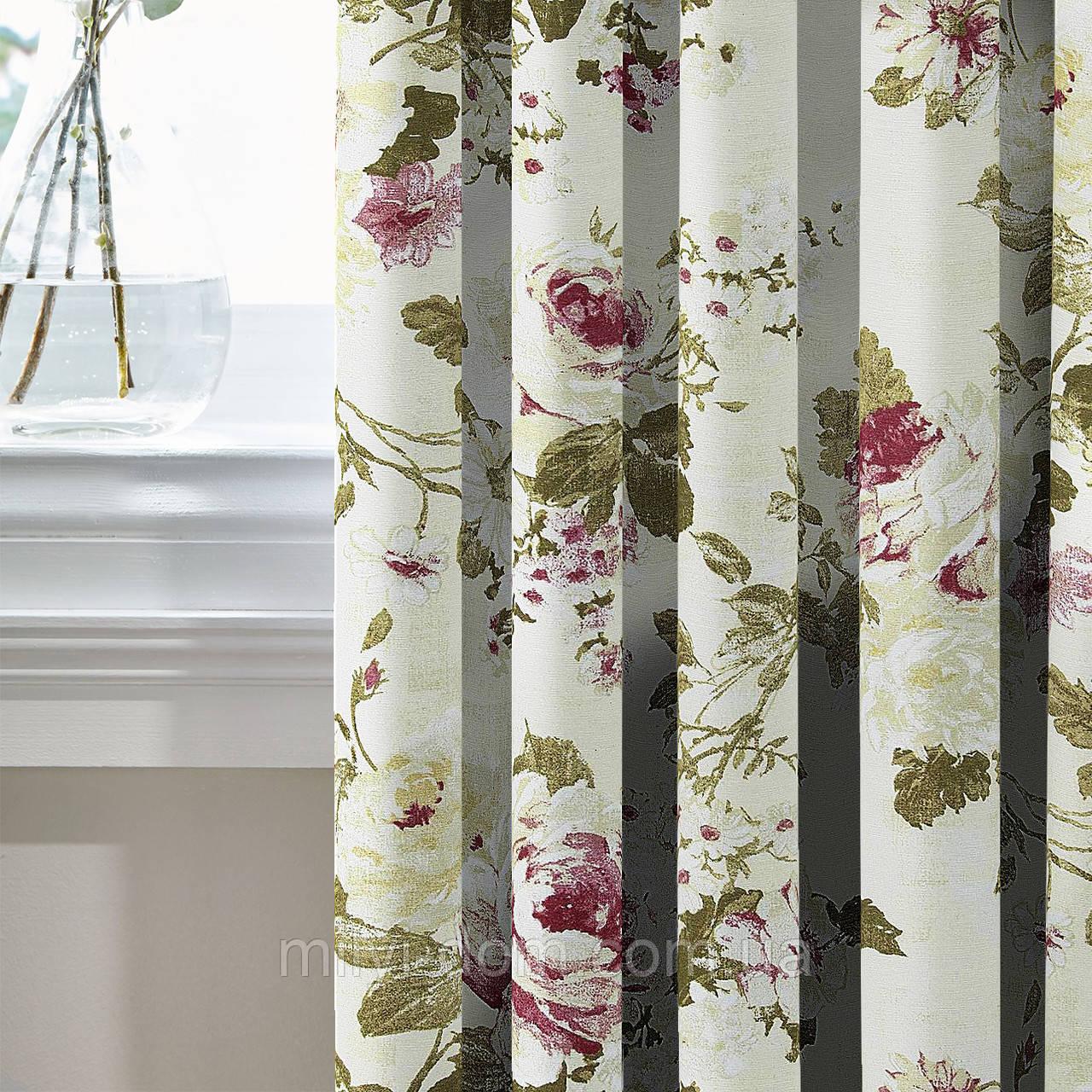 Штори в стилі Прованс Айрет Великі квіти Молочний (MG-SHT-140357), 170 * 135 см (2 шт.)
