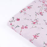 """Ранфорс шириной 240 см с принтом """"Ветки сакуры"""" малинового цвета на розовом фоне (№3372), фото 4"""