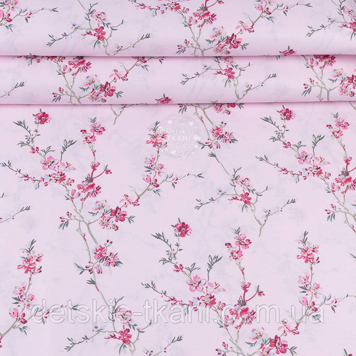 """Ранфорс шириной 240 см с принтом """"Ветки сакуры"""" малинового цвета на розовом фоне (№3372)"""