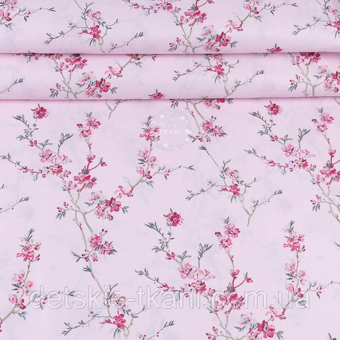 """Ранфорс шириною 240 см з принтом """"Гілки сакури"""" малинового кольору на рожевому фоні (№3372)"""