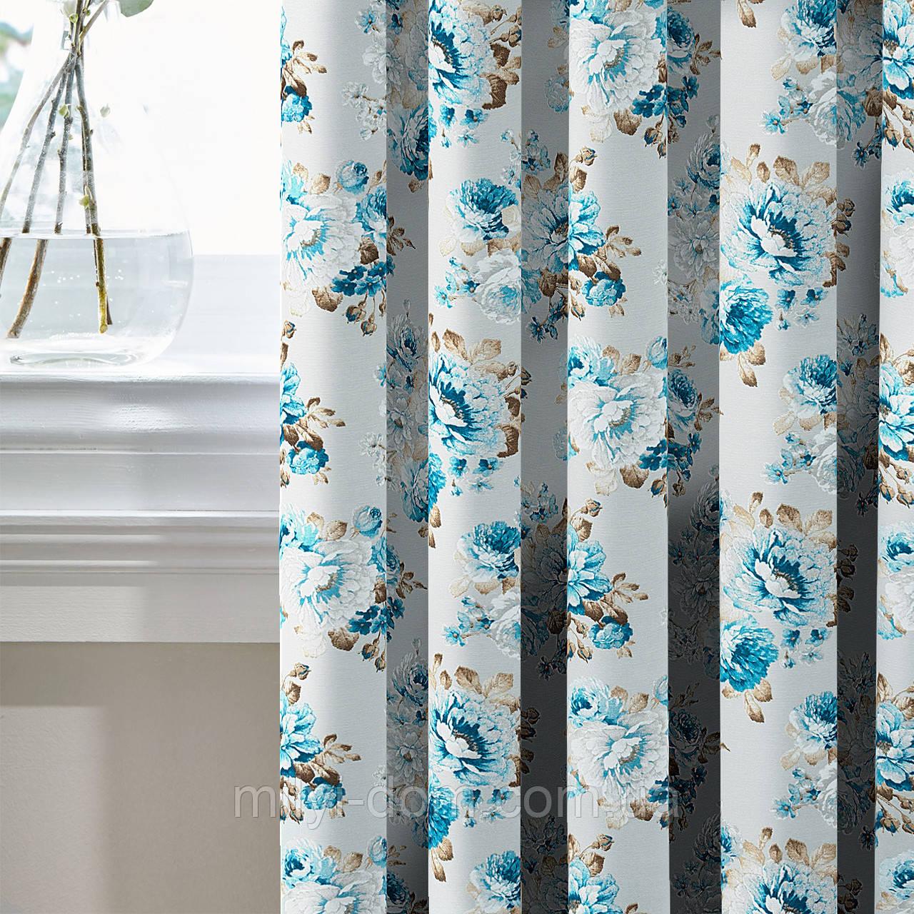 Шторы в стиле Прованс АКИЛ Синий Крупные цветы (MG-SHT-86052), 170*135 см (2 шт.)