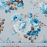 Шторы в стиле Прованс АКИЛ Синий Крупные цветы (MG-SHT-86052), 170*135 см (2 шт.), фото 3