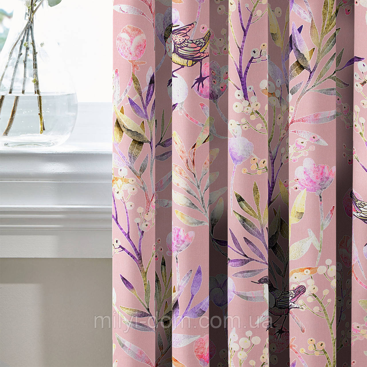 Шторы в стиле Прованс Птичий Мир Розовый (MG-SHT-167588), 170*135 см (2 шт.)
