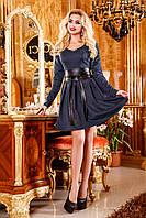 Нарядное платье из принтованного жаккарда с кожаным поясом, юбка клеш, 44-50 размер, фото 1