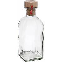 Стеклянный графин бутылка 1 л с деревянной пробкой Everglass 5020
