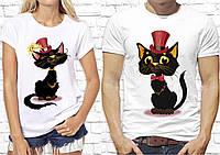 """Парные футболки для двоих с принтом """"Кошка и Кот"""" Push IT, Белый"""