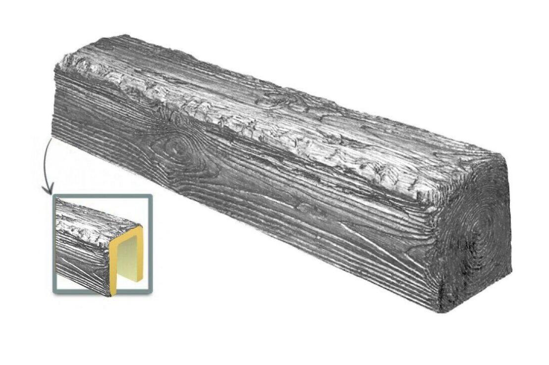 Балка потолочная декоративная  Рустик EQ 004 (3м) classic сіра 19х17, лепной декор из полиуретана.