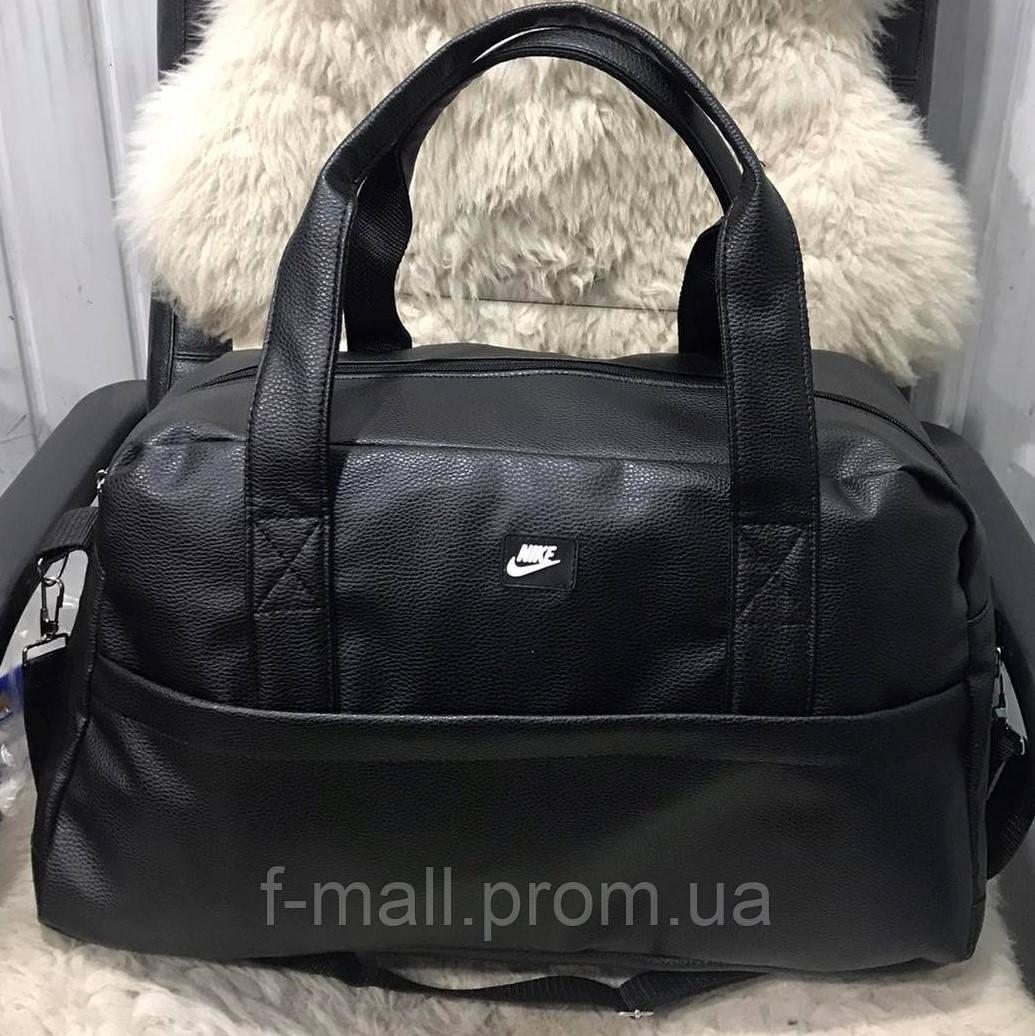 Спортивна шкіряна сумка чоловіча жіноча дорожня сумка Puma кожзам чорна