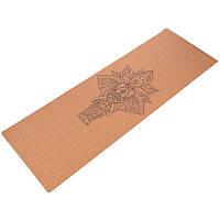 Йога коврик для фитнеса пробковый каучуковый двухслойный 4мм Record FI-7156-5