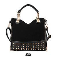 Стильная Модная молодежная женская сумка с шипами,черная