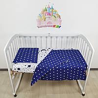 Комплект сменного постельного в детскую кроватку в бело-синих тонах: пододеяльник,простыночка,наволочка+под