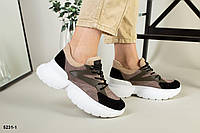 Бежеві кросівки з натуральної замші з шкіряними вставками, фото 1