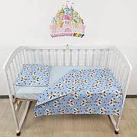 Комплект сменного постельного в детскую кроватку в голубых тонах с пандами: пододеяльник,простынка,наволочка