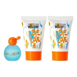 Набор женский Moschino I Love Love Mini Туалетная вода 4.5 мл+Лосьон для тела 25 мл+Гель для душа 25 мл