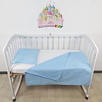 Комплект сменного постельного в детскую кроватку в бело-голубых тонах: пододеяльник,простынка,наволочка+подушк
