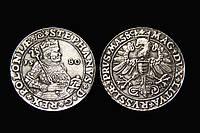 Талер 1580г Польша Литва Король Стефан Баторий копия в серебре №565 копия, фото 1