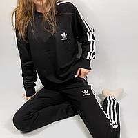 Спортивный костюм женский Adidas черный | Комплект Адидас весенний осенний Кофта + Штаны ЛЮКС качества