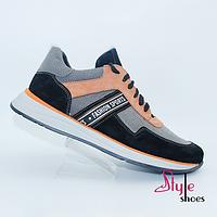 Мужские туфли из натуральной кожи комбинированной с нубуком