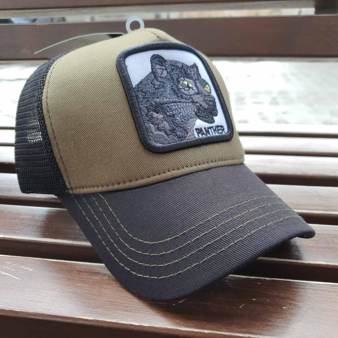 Кепка-тракер чорна з хакі пантера