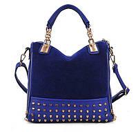 Стильная Модная молодежная женская сумка с шипами,синяя