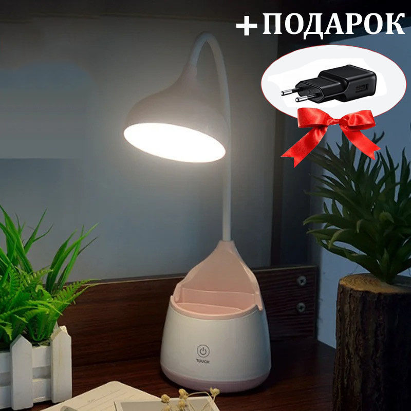 Лампа настольная (WD304) Сенсор Стакан для ручек  3 режима microUSB Розовая