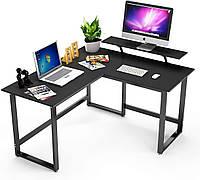 Стол письменный компьютерный угловой GoodsMetall из металла с полками Лофт СТП126