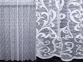 """Тюль жаккард з краваткою, """"Преміум"""", колір білий з візерунком вензель. Код 295т, фото 2"""