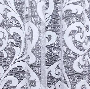 """Тюль жаккард з краваткою, """"Преміум"""", колір білий з візерунком вензель. Код 295т, фото 3"""