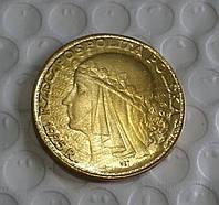 100 злотых 1925г Польша копия золотой монеты №581 копия
