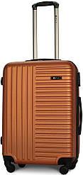 Чемодан пластиковый на 4х колесах средний M оранжевый | 25х65х42 см | 3.150 кг | 62 л | FLY 1096