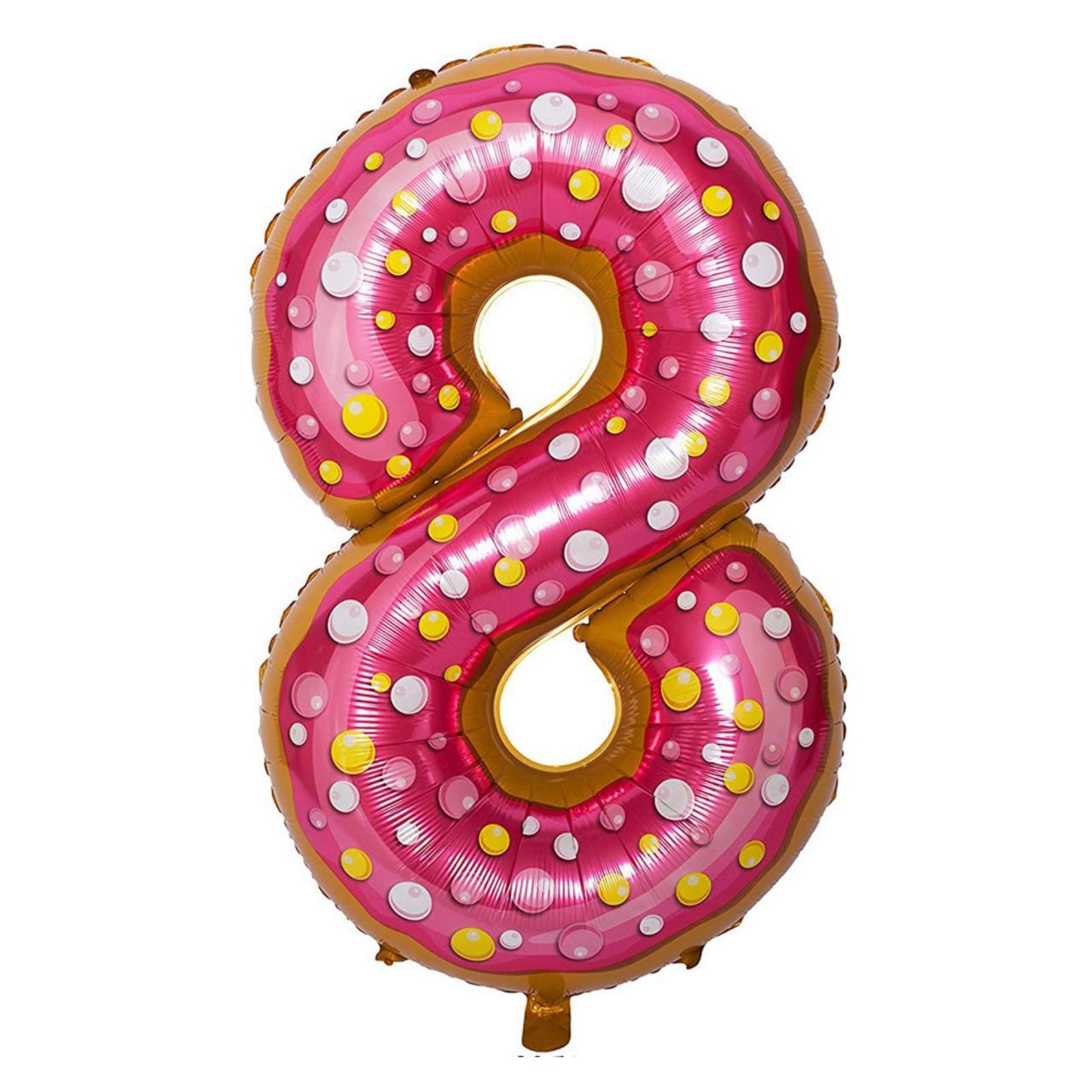 Фольгированная цифра 8, пончик, 1м