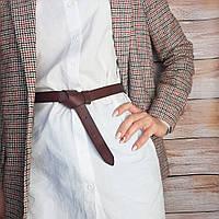 Ремень-узел женский кожаный без пряжки SF-258 коричневый (2,5 см), фото 1