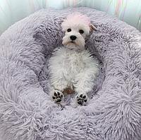 Лежак (лежанка) для кошек и собак диаметр 50 см спальные места для домашних животных цвет серый