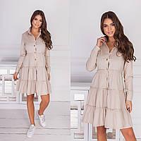 Стильное свободное платье с воланами, Платье рубашка женское, Модное женское платье на лето, летнее платье