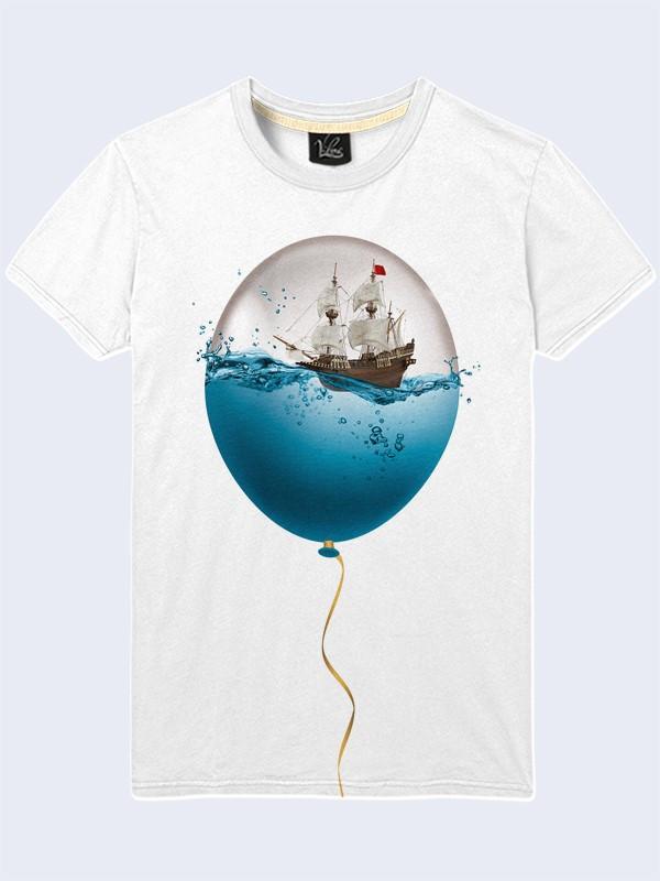 Мужская Футболка Море в шарике