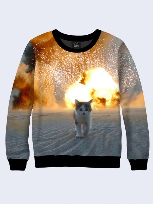 Мужской Свитшот Кошка и взрыв