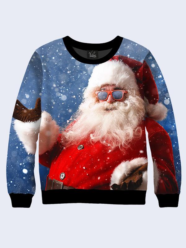 Мужской Cвитшот Санта Клаус в чёрных очках