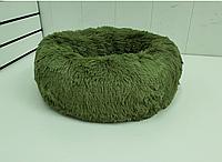 Лежак постель для собак и кошек диаметр 50 см спальные места для домашних животных цвет оливка