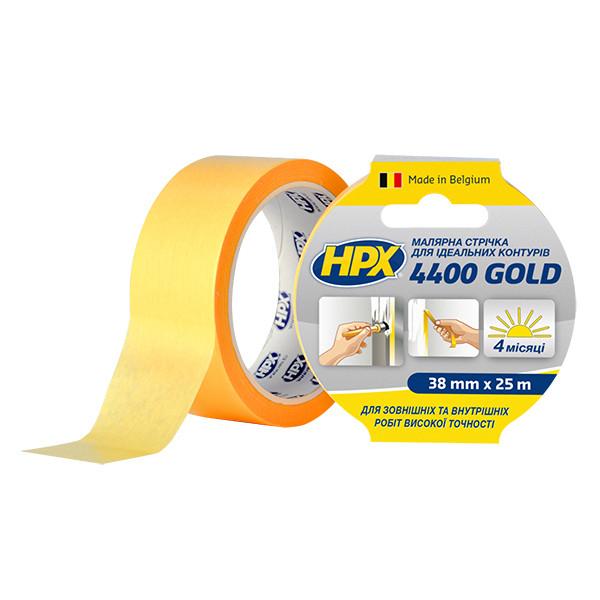 """HPX 4400 """"Золотая"""" - 38мм x 25м  - малярная лента (скотч) для наружного применения и четких контуров"""