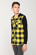 Детская Стильная рубашка в клетку для мальчика Young Reporter Польша 201-0334B-06-300-1-M Черный