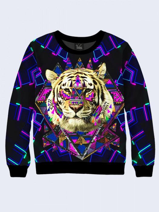 Чоловічий Світшот Тигр і Орнамент