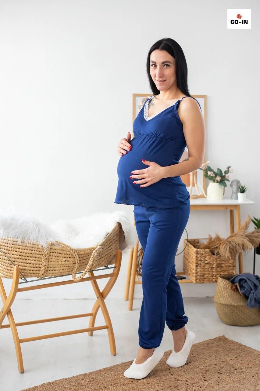 Пижама женская топ и штаны синий с кружевом летняя хлопковая для кормящих мам р.44-54