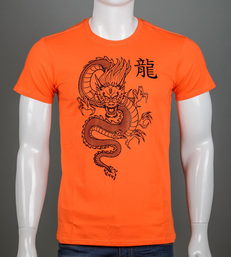 Футболка чоловіча Китайський Дракон (2113м), Морквяний