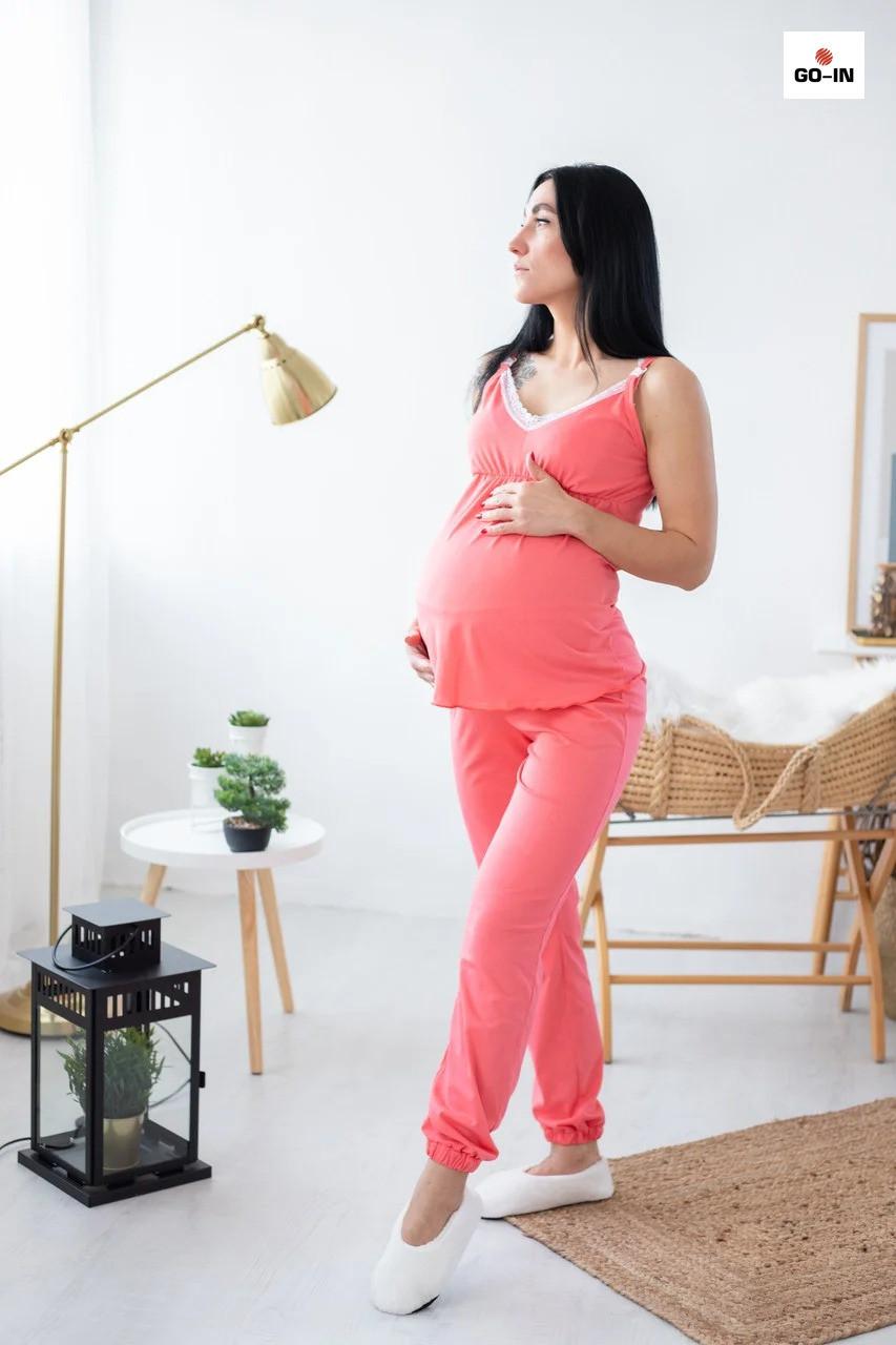 Летняя пижама женская топ и брюки с кружевом хлопковая для кормящих мам р.44-54