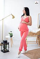 Летняя пижама женская топ и брюки с кружевом хлопковая для кормящих мам р.44-54, фото 1