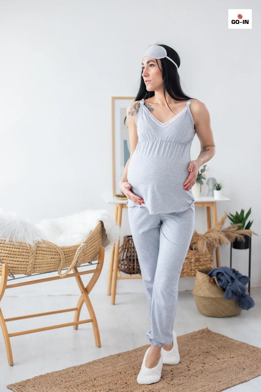 Піжама жіноча для вагітних і годуючих мам топ і штани з мереживом річна бавовняна р. 44-54