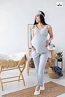 Піжама жіноча для вагітних і годуючих мам топ і штани з мереживом річна бавовняна р. 44-54, фото 1
