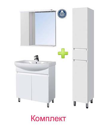 Комплект мебели Мойдодыр - Тумба Фокус 70 с Зеркальным шкафом СТ-70 и Пеналом П-28, фото 2